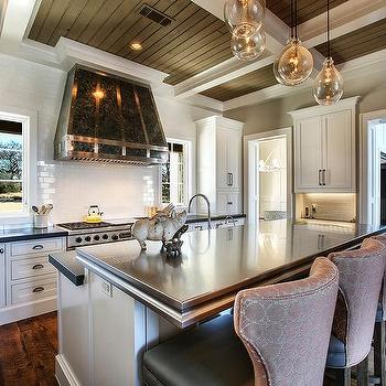 Stained Beadboard Coffered Ceiling Design Ideas