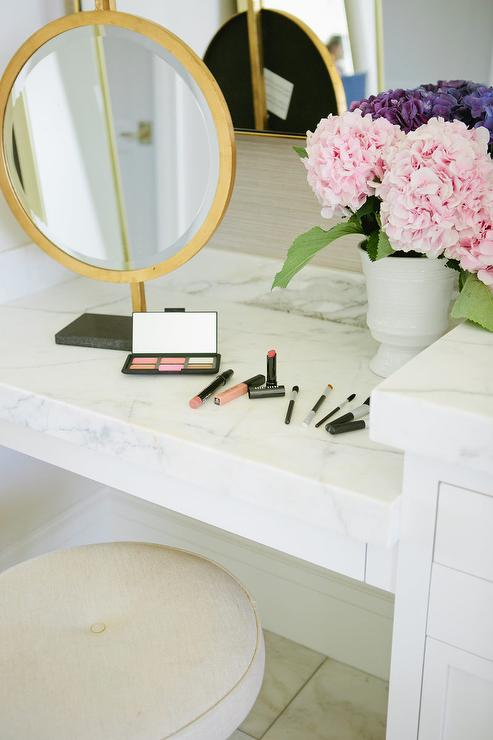 Marble Top Makeup Vanity With Gold Mirror Transitional