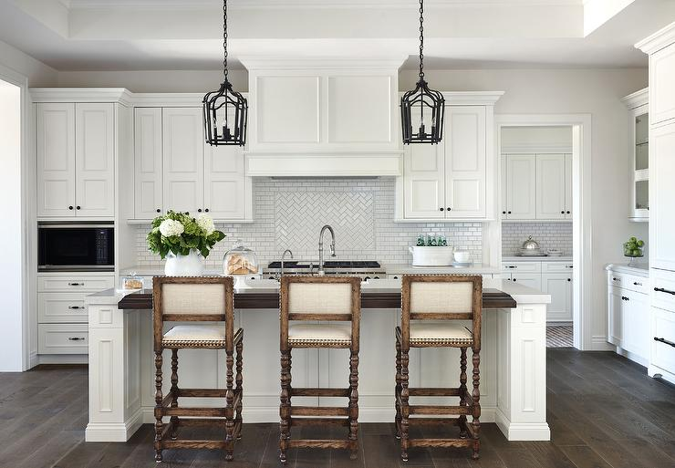 Stained Wood Top Kitchen Island Top with Gothic Iron ...
