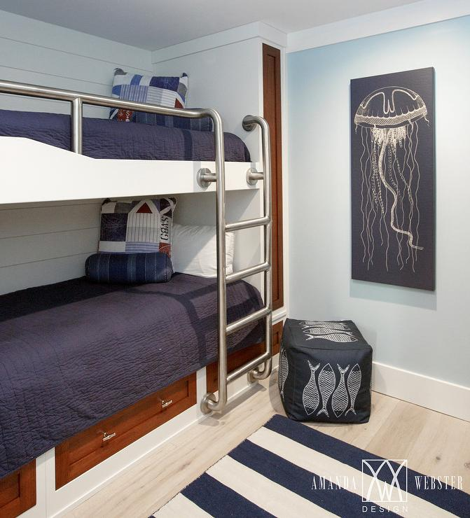 Wood and metal industrial bed with metal steamer trunk for Boys nautical bedroom ideas