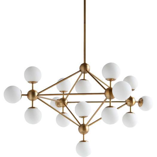fifteen light openwork design brass pendant