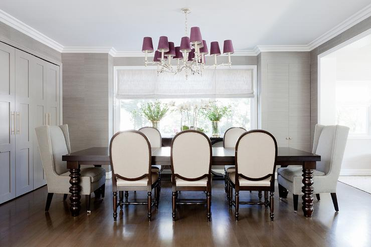 Purple And Gray Dining Room With Jib Cabinet Doors View Full Size