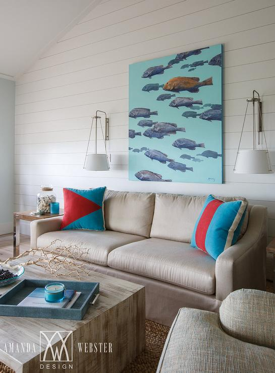 Taupe And Blue Cottage Living Room With Turquoise School Of Fish Canvas Art