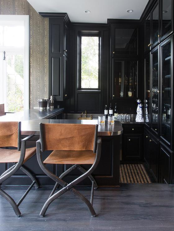 Old Hollywood Wet Bar With Leather Director Chairs