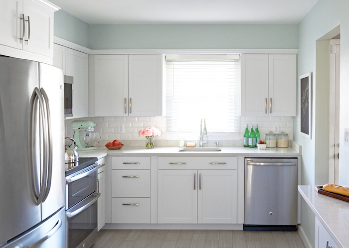 Lowes Arcadia Cabinets With Soothing Blue Walls Transitional Kitchen Valspar Winter In Paris