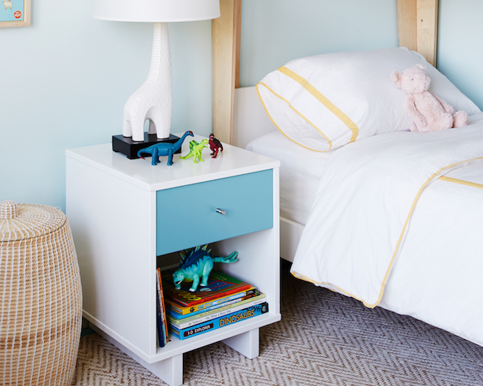 Modern Bunk Bed With Blue Drawer Nightstand Modern Boy S Room