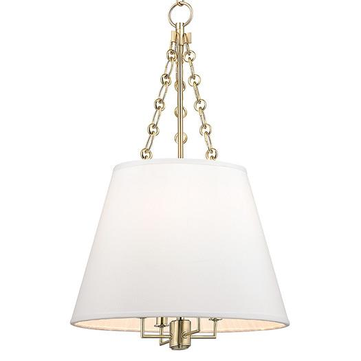 Shade gold chain hung four light pendant white shade gold chain hung four light pendant mozeypictures Gallery