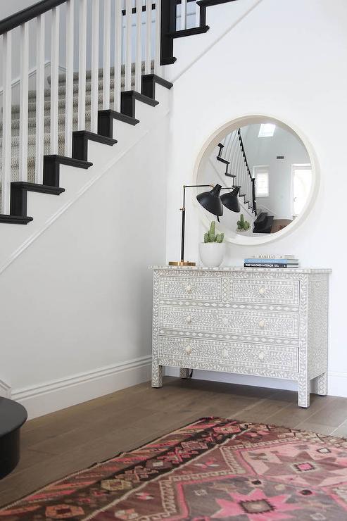 Bone Inlay Mirror Transitional Living Room Highgate