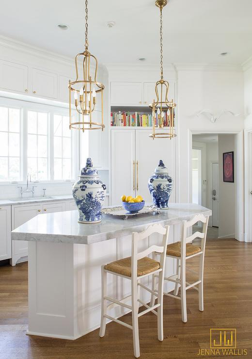 Angled Center Island with Gold lanterns and White Ladder back Counter Stools & Angled Center Island with Gold lanterns and White Ladder back ... islam-shia.org