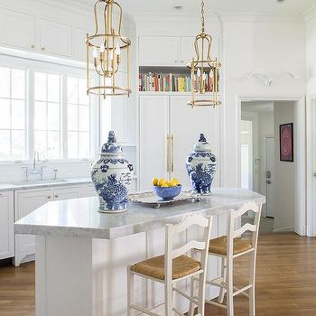 Angled Center Island with Gold lanterns and White Ladder back Counter Stools & White Ladder Back Rush Seat Kitchen Counter Stools Design Ideas islam-shia.org