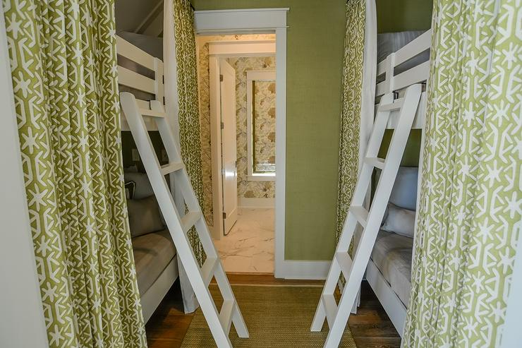 Green Beach Bungalow Bunk Room With Bed Curtains