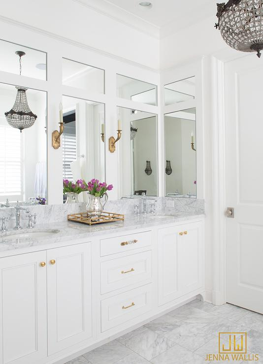 Bathroom Vanity Hardware white dual bath vanity with shiny gold hardware and mirror and