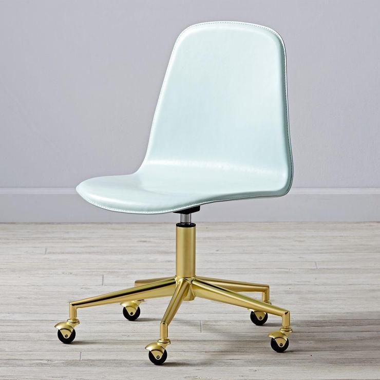 Leather Mint Green And Gold Desk Chair View Full Size