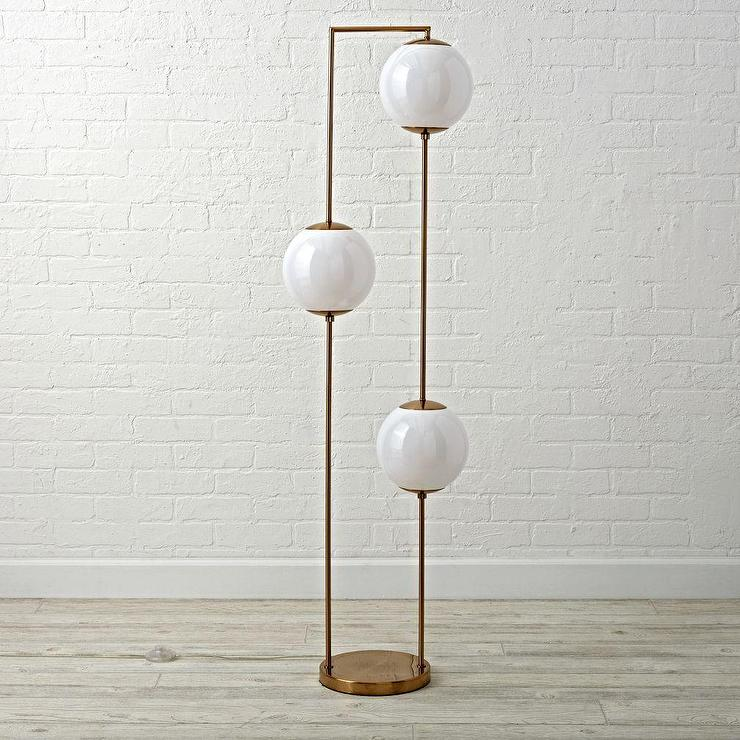 3 Globe Arc Floor Lamp In Brass