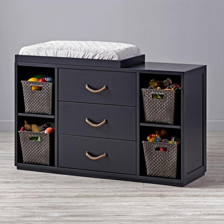 Black Wide Storage Changing Table