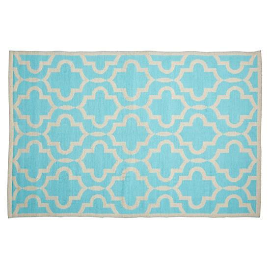 Maples Blue White Fretwork Rug