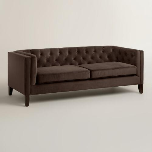 Brown Velvet On Tufted Sofa
