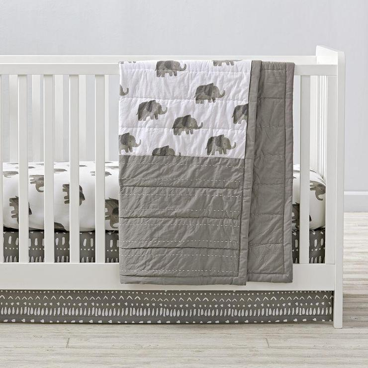 Gray and White Elephant Crib Bedding and Quilt
