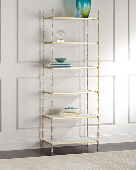 White Marble Shelves Antiqued Brass Frame Etagere