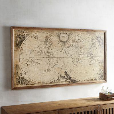 Tan Vintage World Map Framed Art