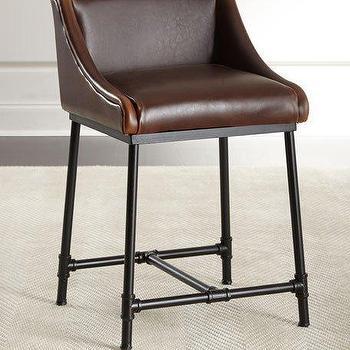 Brown Kirkham Tufted Leather X Base Stool