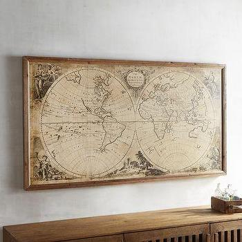 Contemporary world map canvas art products bookmarks design tan vintage world map framed art gumiabroncs Gallery