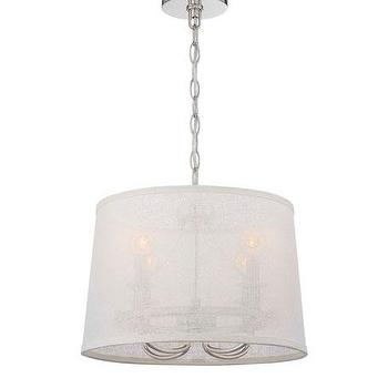 Zoe Eight Light Nickel And White Silk Chandelier