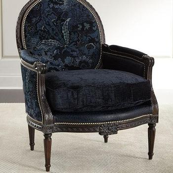 Navy Round Back Traditional Chair