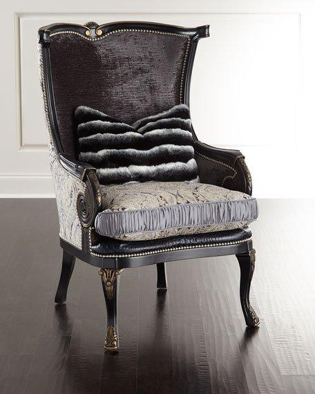 Gray Massoud Rouched Silk Chair