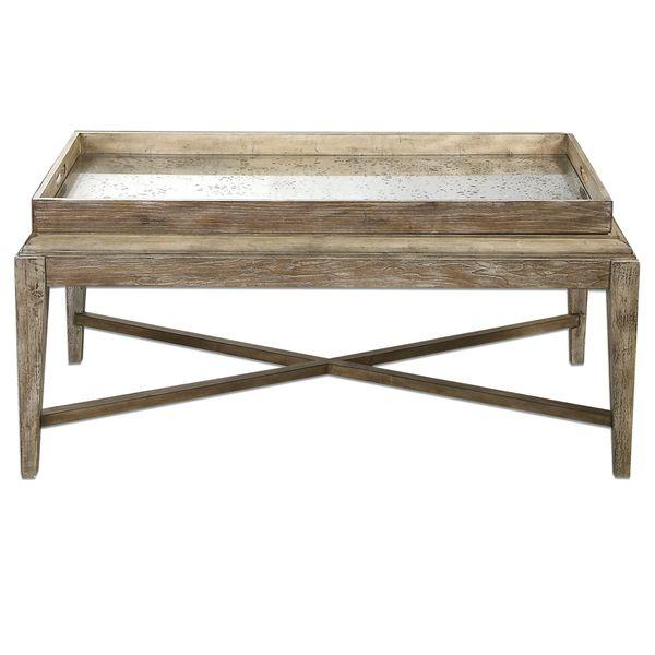 Brown Rustic Antique Mirrored Coffee Table