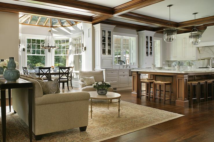Expansive Kitchen Island With Dover Bell Lights