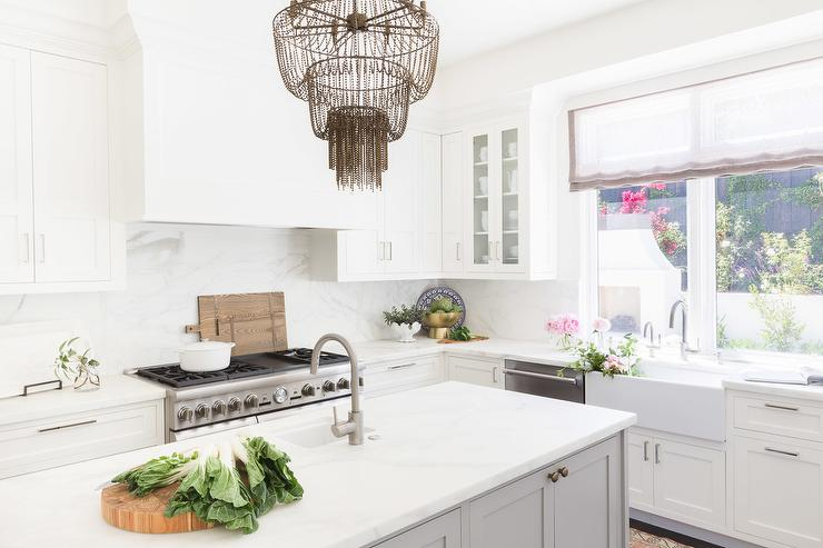 Alyssa Rosenheck White And Gray Kitchen With Beaded Tiered Chandelier