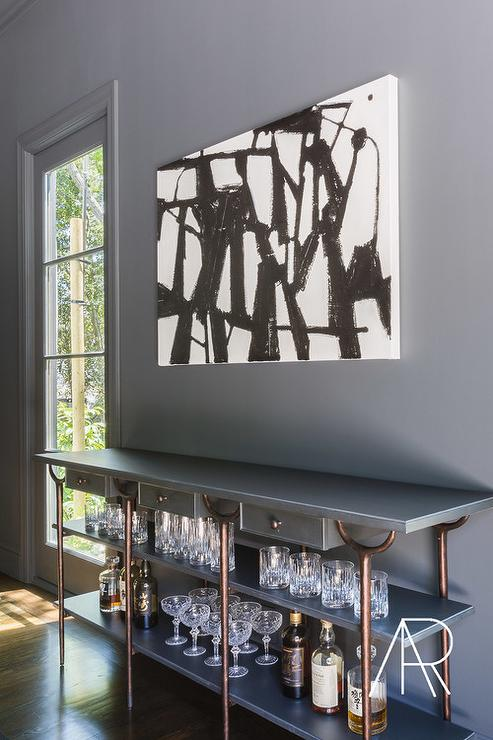 Enjoyable Alyssa Rosenheck Gray Bar Table With Copper Piping Home Interior And Landscaping Pimpapssignezvosmurscom