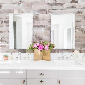 Alyssa Rosenheck: Gray Washstand With Barn Board Plank Wall