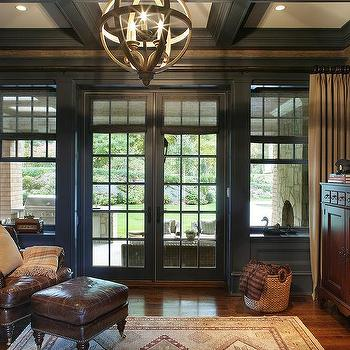Blue And Gray Den With Blue Coffered Ceiling