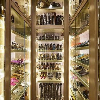 The Couture Closet · Lighted Glass Door Shoe Bag Boots Cabinets