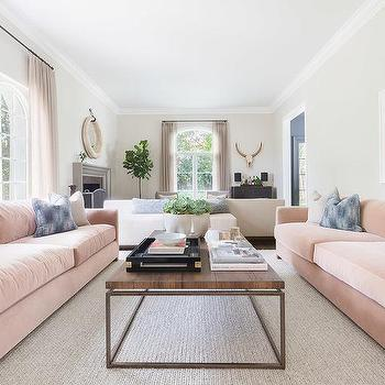 Alyssa Rosenheck: Pink Velvet Sofas With Blue And Gray Pillows