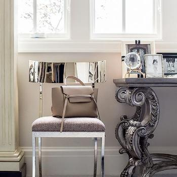 polished stainless steel klismos chair with french desk