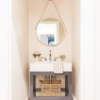 Hanging Leather Mirror Transitional Bathroom Thom