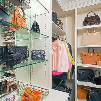 Walk In Closet With Modular Glass Handbag Shelves