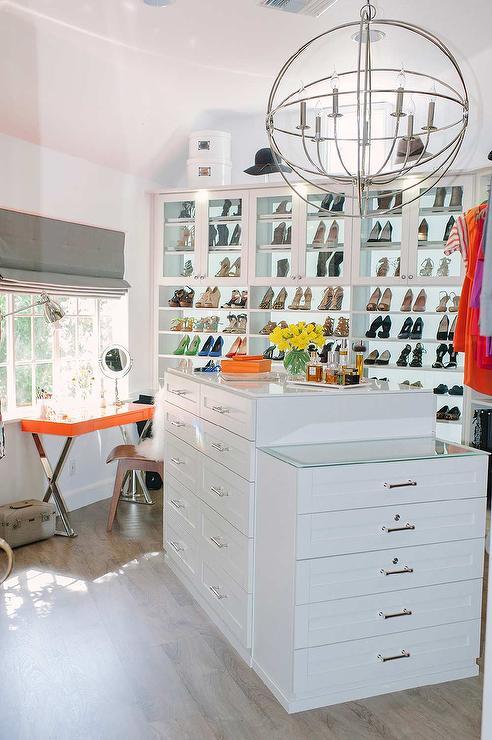 Angled Closet Island With Jewelry Drawers