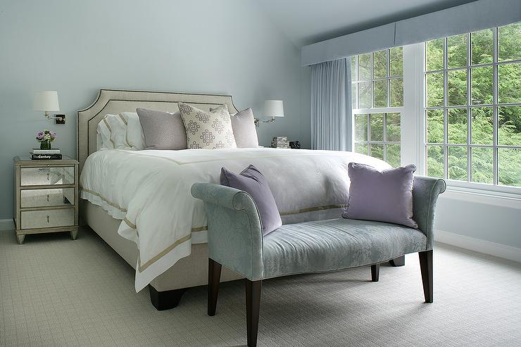 Blue Bedroom with Beige Bed and Mirrored Nightstands ...