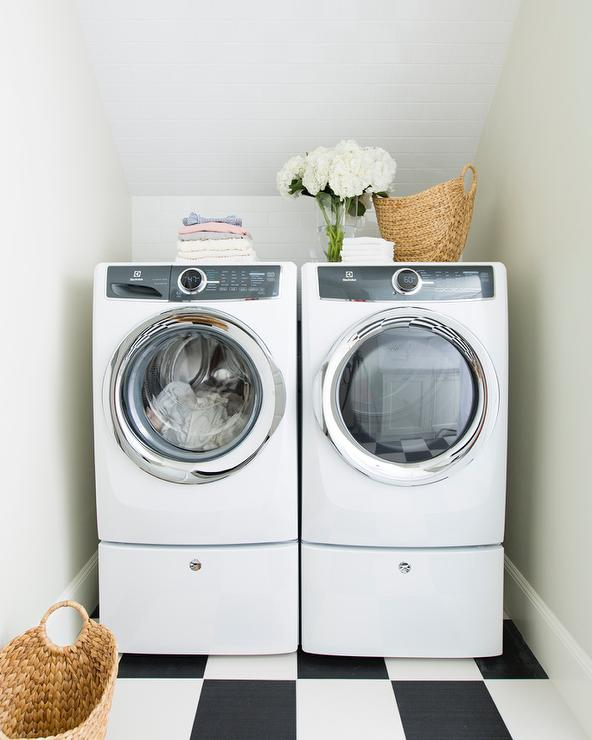 White And Gray Laundry Room With Checkered Floor Cottage