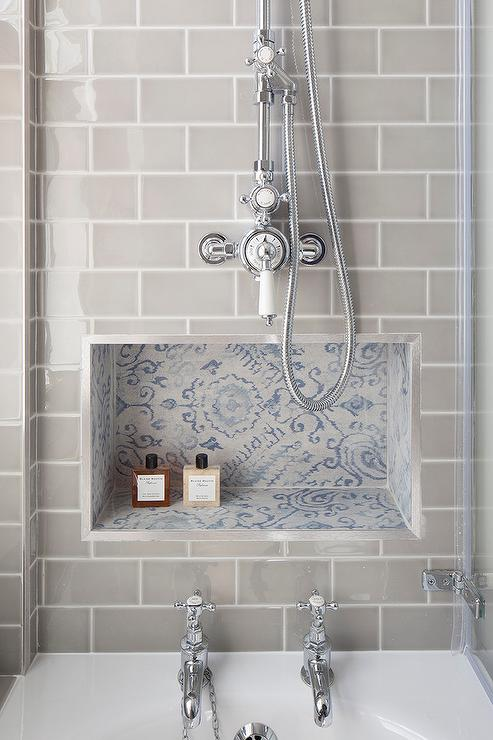 blue mosaic tiled shower niche view full size