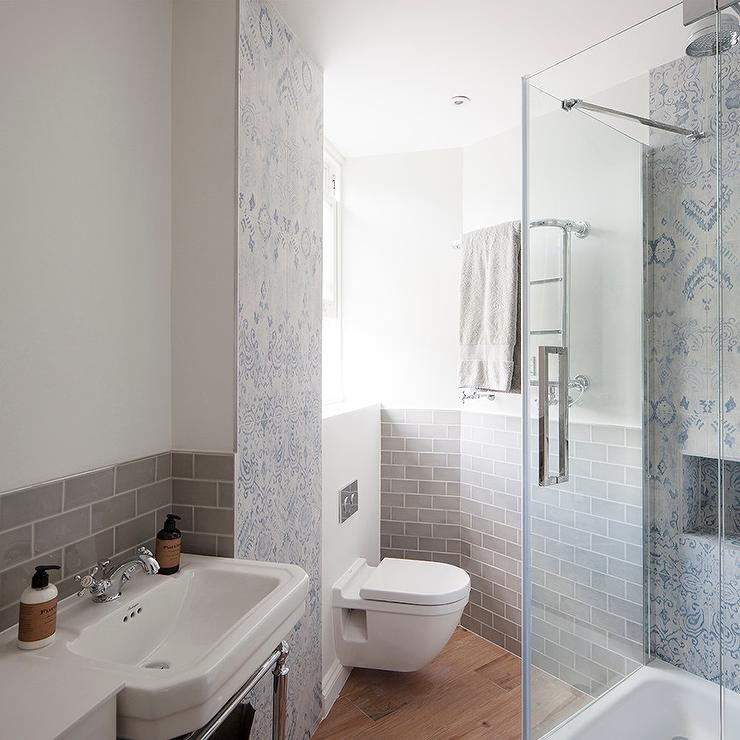 Corner Shower with Blue Mosaic Shower Tiles - Transitional - Bathroom