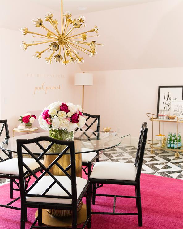 Pink And Black Office With Hot Rug