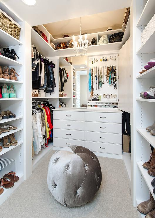 Closet With Mirrored Jewelry Cabinets