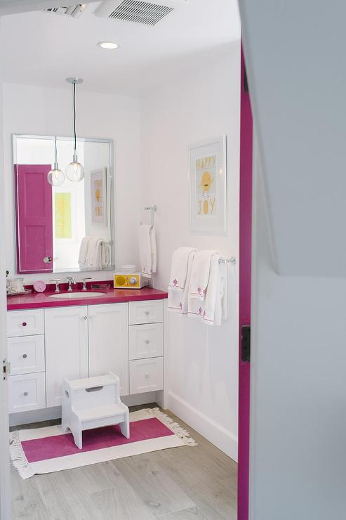 Kid Bathroom With Hot Pink Countertops