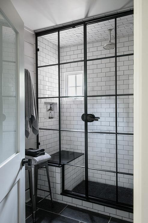 Freshen Up In This Gorgeous Industrial Bathroom Featuring A Tolix Stool  Positioned On Black Floor Tiles Leading To An Industrial Shower Fitted With  A White ...