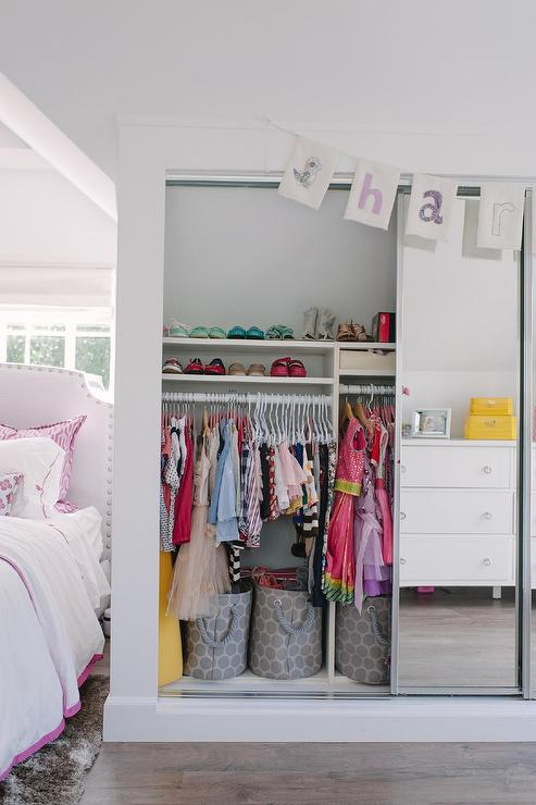 Girl Bedroom with Sliding Mirrored Closet Doors ...
